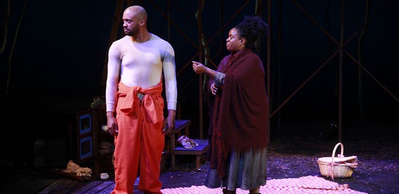 Tré Cotten and Bria Henderson in Fucking A / Costume Design by Emily Woods Hogue / Photo by Mike Hipple