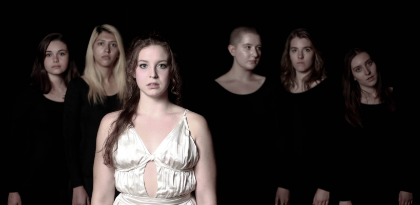 Jordan Kerslake, Katrin Hosseini, Tamsen Glaser, Gabi Boettner, Lindsey Crocker, and Anais Gralpois in Iphigenia and Other Daughters