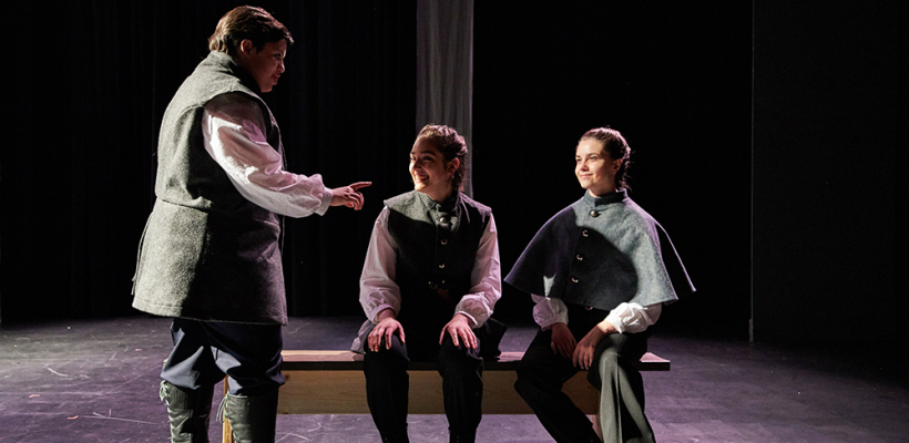 Kayleah Lewis [left] as Barnardo in UTS' Hamlet, Costumes by Isabel Martin, Directed by Megan Brewer