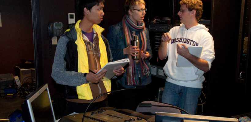 Students working with the lighting equipment in Jones Playhouse
