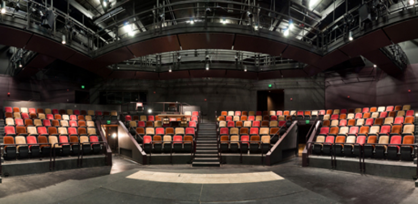 Interior panorama of seating from the stage in the Jones Playhouse.