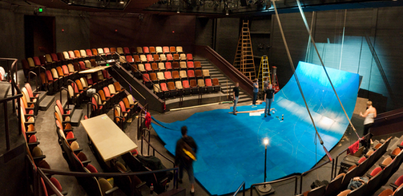 Interior panorama of the stage in the Jones Playhouse with sets for The Tempest