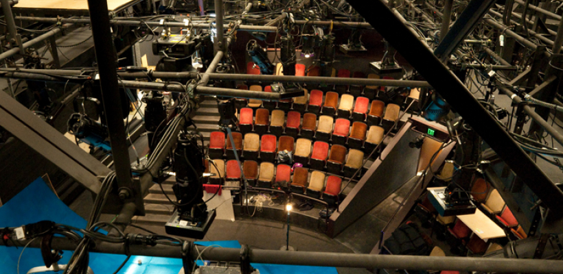 Interior view of seating from the catwalk in the Jones Playhouse