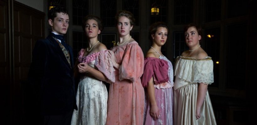 Laurence Jarlett, Lindsey Crocker, Ariaga Mucek, Hannah Spitzbart, and Emma Halliday in UTS' The Picture of Dorian Gray / Photo by Andrew Tat.