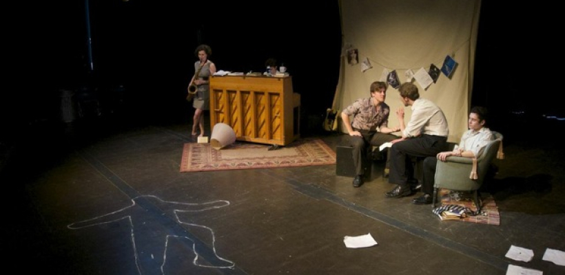 Chalk outline, saxiphone player and pianist, two men talking to each other, and one sitting in a chair.