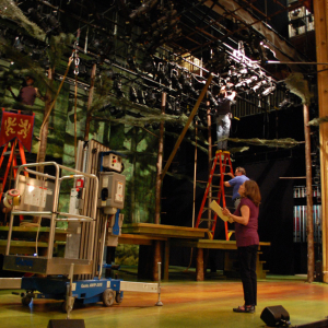 "Jennifer installing ""Robin Hood"" on the stage in New York."
