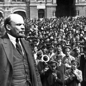 Vladimir Lenin addresses the crowd in Red Square in 1919