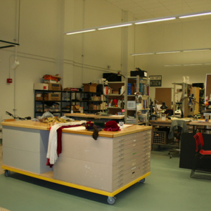 The grad design studio located in the basement of Hutchinson Hall