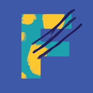 F on blue background