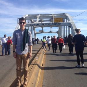 Simon Tran at the Edmund Pettus Bridge during the Civil Rights Pilgrimage with UW's Dept. of Communication.