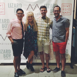 Brandon Ivie with the cast of Lizard Boy The Musical
