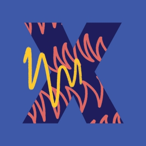 X on blue background
