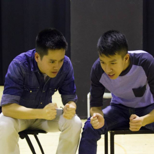 Mikko Juan (on left) and Simon Tran in rehearsal for Yellow Face