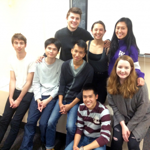 The Yellow Face team, first row (left to right): Mickey McDonnell, Cory Lee, Simon Tran, Mikko Juan, and Gabrielle Boettner; second row (left to right): Peter Sakowicz, Elizabeth Wu, and Anna Saephan