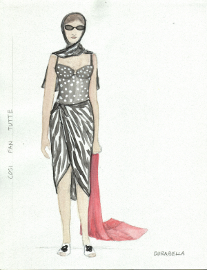 A costume sketch by Norah Tullman, MFA '01.