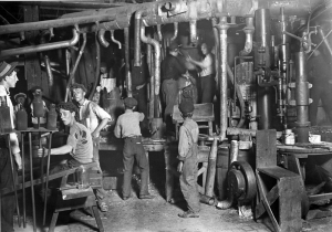 The night shift at an Indiana glass factory, August 1908. Obtained from the Library of Congress, Corning Museum of Glass.