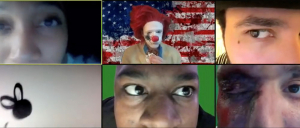 Six actors in individual Zoom frames, in a scene of the play So Far So Good