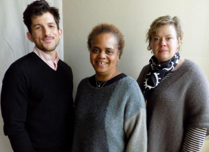 Photo credit: From left, Andrew Russell, producing artistic director at Intiman Theatre, Valerie Curtis-Newton, director and educator, and Jennifer Zeyl, Intiman's artistic producer. CREDIT KUOW PHOTO/ISOLDE RAFTERY