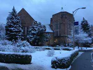 an image of Hutchinson Hall covered in snow