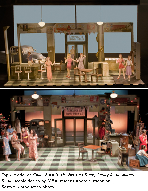 scenic design for Come back to the Five and Dime, Jimmy Dean, Jimmy Dean by MFA student Andrew Mannion