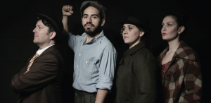 Jonathan Shue, Moises Castro, Andrea Salaiz, and Rebekah Patti in 'The Cradle Will Rock.' Photo by Mike Hipple.