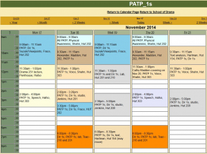 PATP 1s autumn 2014 class schedule
