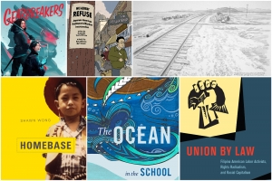 Collage of AAPI book covers and art work by faculty