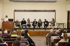 Photo of panelists at Speak Up! event addressing the realities of being Muslim today.