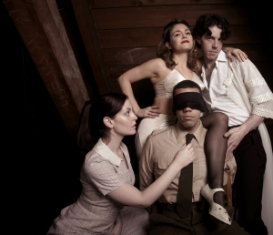 Pictured: The Hostage cast members Rebekah Patti, Christen Gee, Rudy Roushdi, and Colton Sullivan. Photo by Mike Hipple.