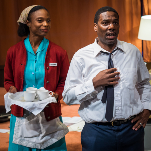 Brianne A. Hill and Reginald André Jackson in The Mountaintop. Photo by Michael Brunk.
