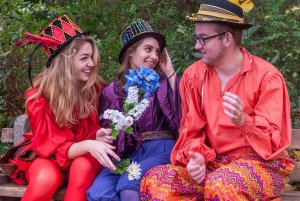 Ellie Mondloch, Daphne Sage Gomez, and Jake Thomas Lemberg in a promotional shot for The Complete Works of Shakespeare (abridged) [revised].