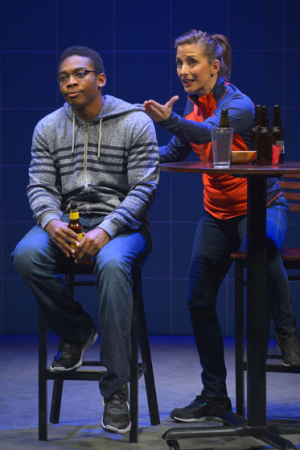 Eddie Ray Jackson and Jenny Mercein in the world premiere of X's and O's (A Football Love Story). Photo by Kevin Berne.
