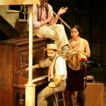 Sir Andrew (Skye Edwards), Fabianne (Hazel Lozano), and Sir Toby (Moises Castro) in Twelfth Night. Photo: Mike Hipple