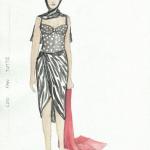 A costume sketch by Norah Tullman, MFA '01.